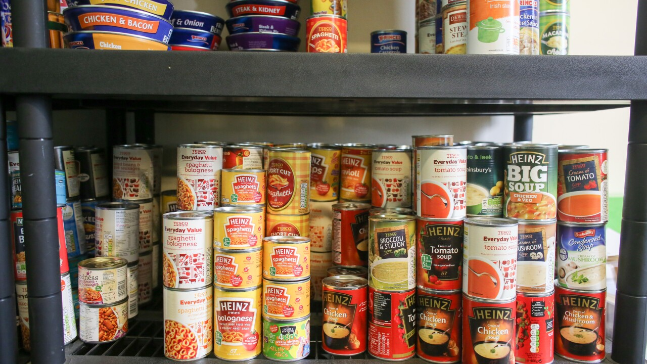 Canned Foods at a Food Bank