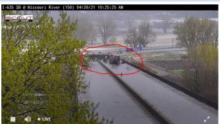 I-635 crash Riverside April 20, 2021