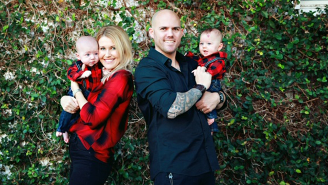 Military wife edits family Christmas photo to include her husband who is serving overseas