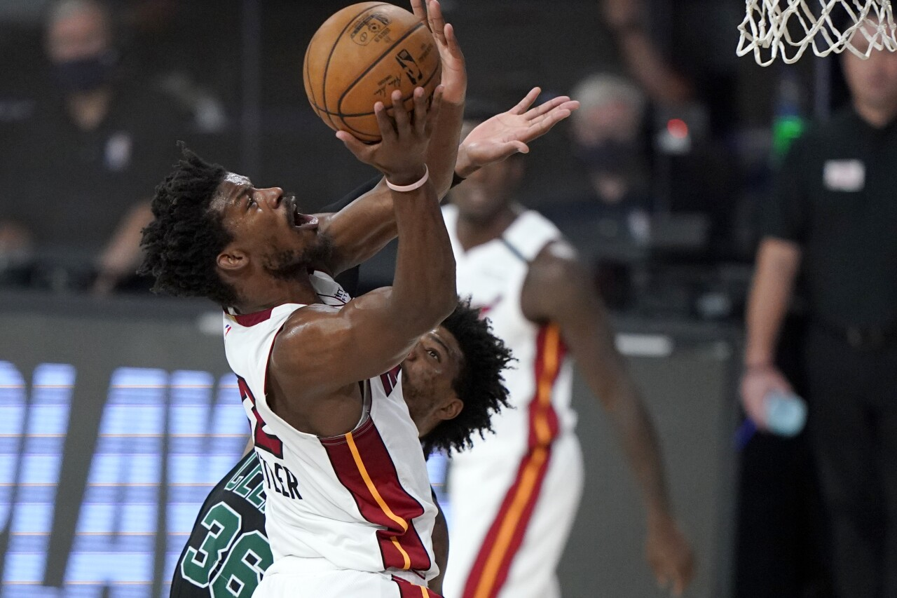 Jimmy Butler goes up for layup, Miami Heat vs. Boston Celtics, Game 1 of Eastern Conference Finals, Sept. 15, 2020
