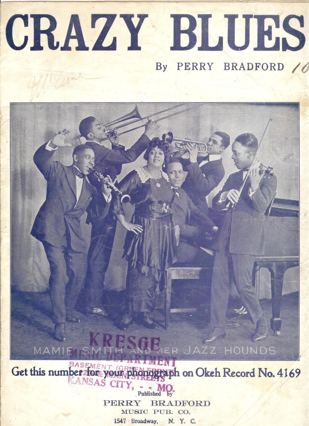 Mamie Smith, Crazy Blues, sheet music by Perry Bradford - cover.jpg