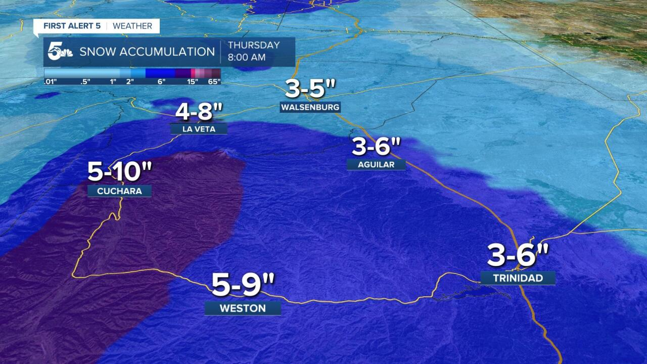 Southern I-25 Corridor Snow Accumulation