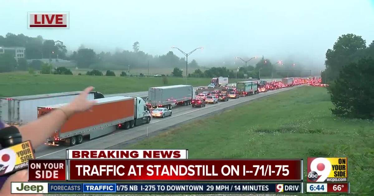 Overturned semi causes backup on NB I-71/75 at Cut-in-the-Hill