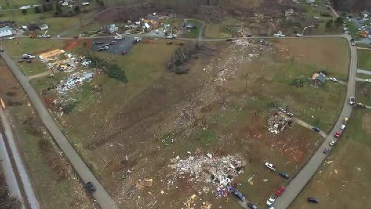 Drone footage captures heartbreaking images over tornadodamage