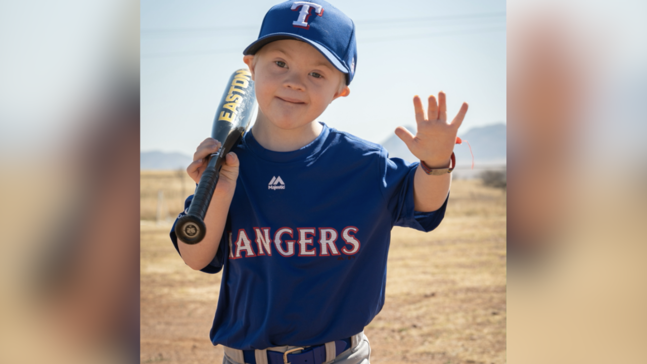 Clayton Dimerling's tee ball photo will be included in a video kicking off a major Down syndrome awareness event in New York.