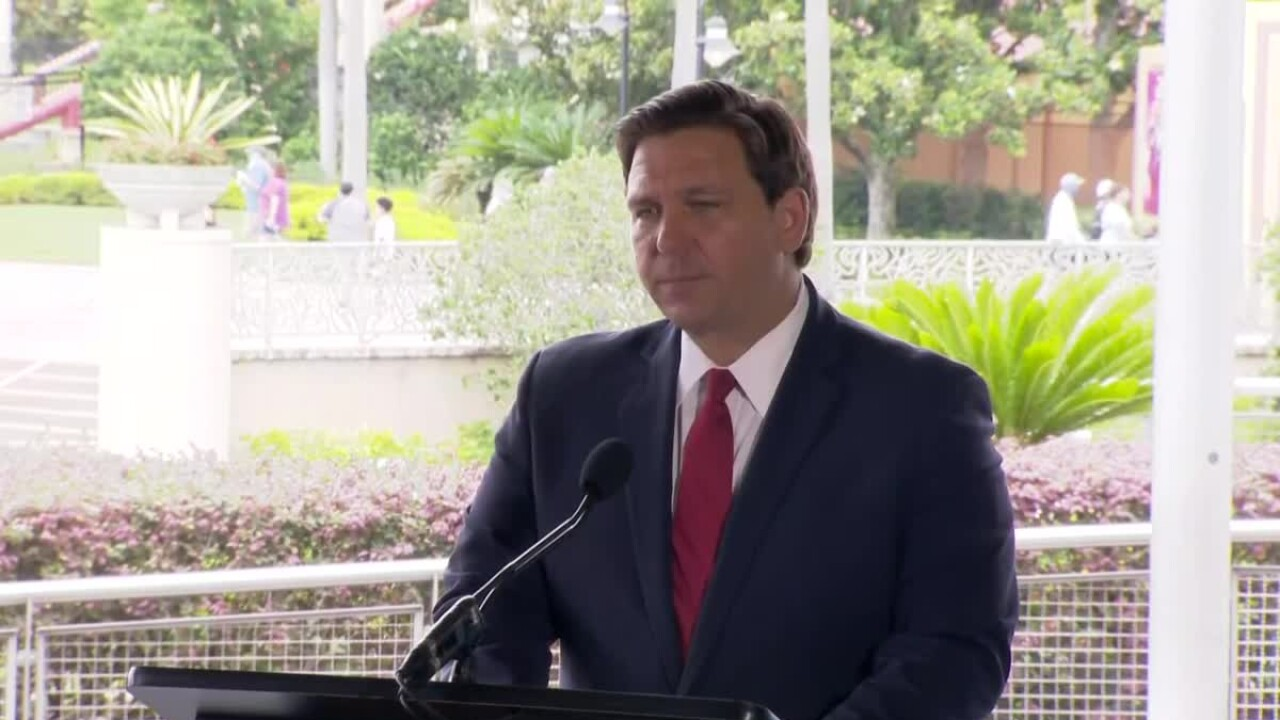 Gov. Ron DeSantis speaks at Universal Orlando, June 3, 2020