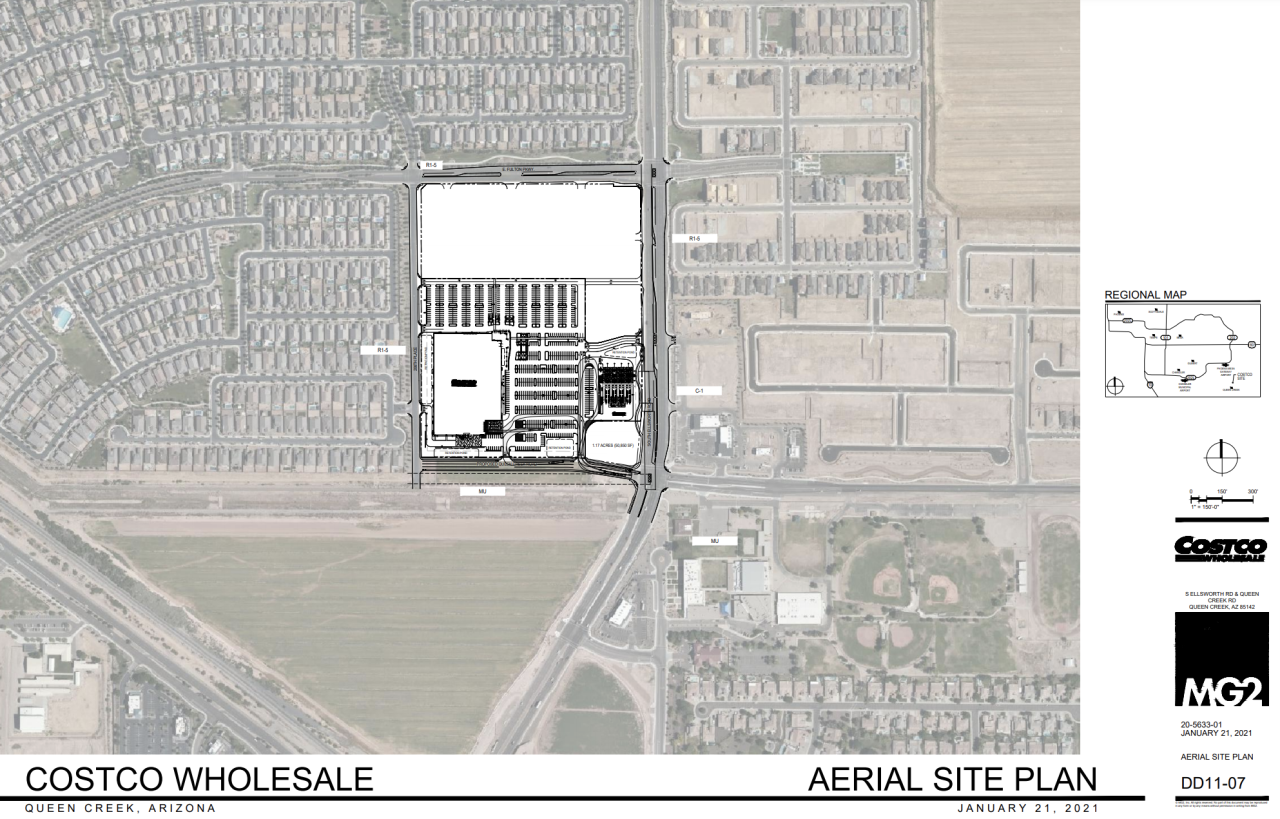 A proposed site plan to build a Costco Wholesale in Queen Creek, Arizona. Document courtesy of Town of Queen Creek.