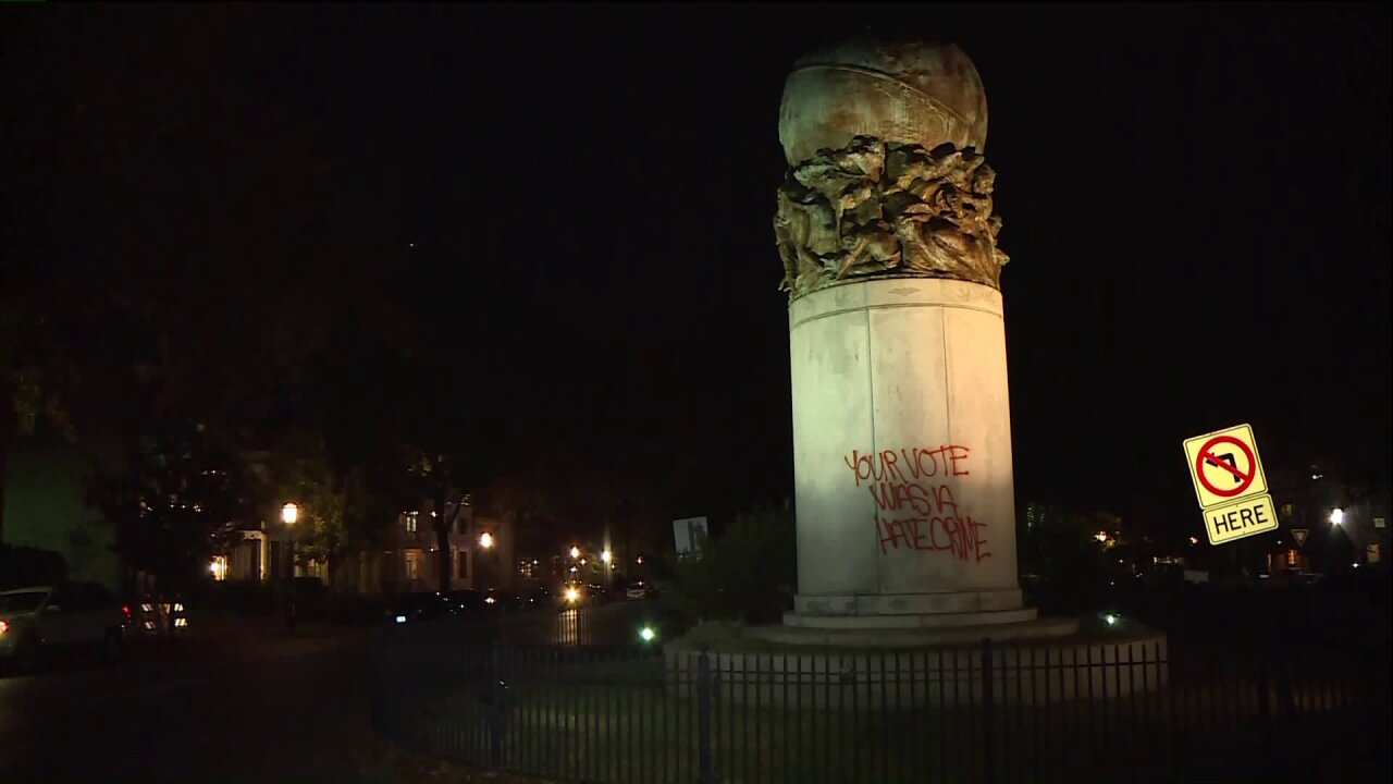 Civil War statues vandalized on Monument Ave. amid Trump protests