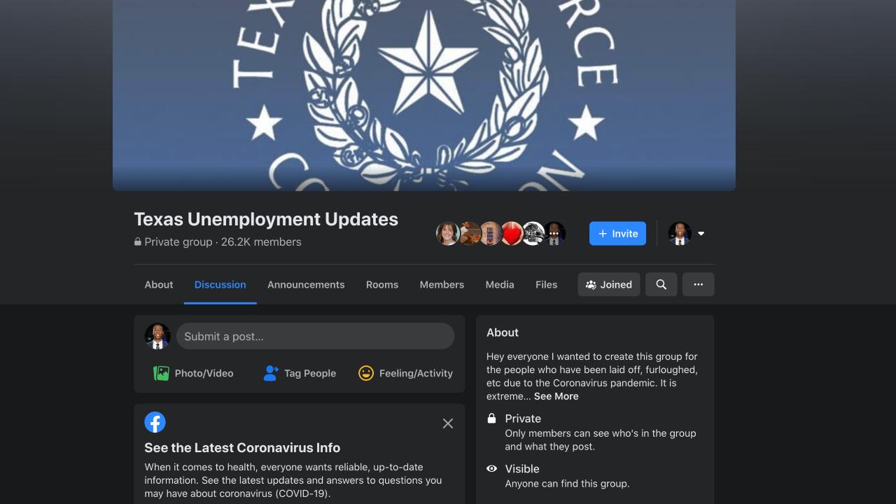 Texas Unemployment Updates Facebook page
