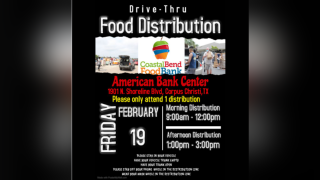 Food bank distribution at American Bank Center