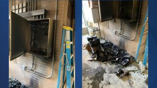 Manitowoc County Sheriffs Office fire damage to control box