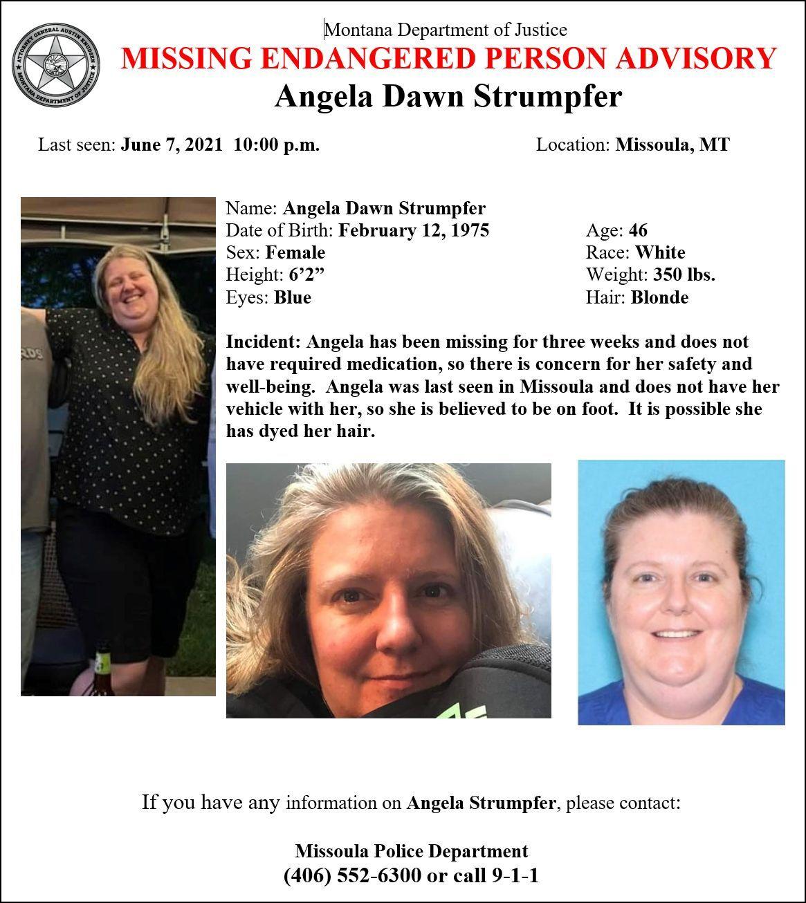 Missing-Endangered Person Advisory for 46-year-old Angela Dawn Strumper of Missoula