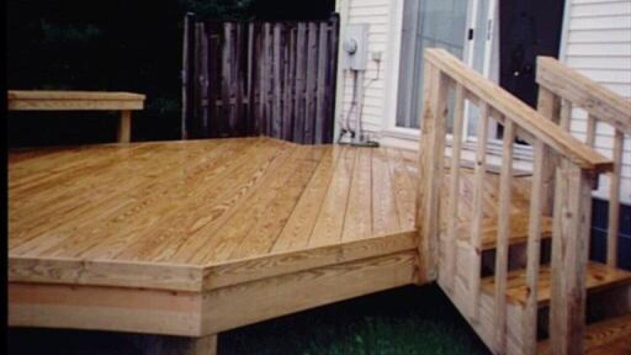 Deck behind a house
