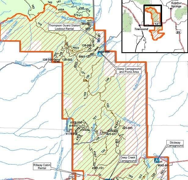 Forest closure Deep Creek Fire
