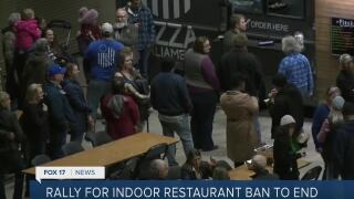 Rally for indoor restaurant ban to end