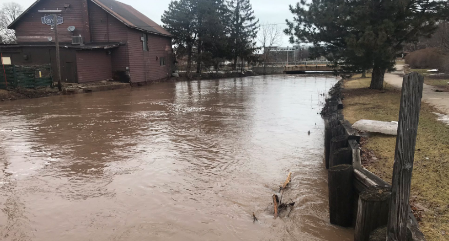 A bar in Fond du Lac was flooded Friday.