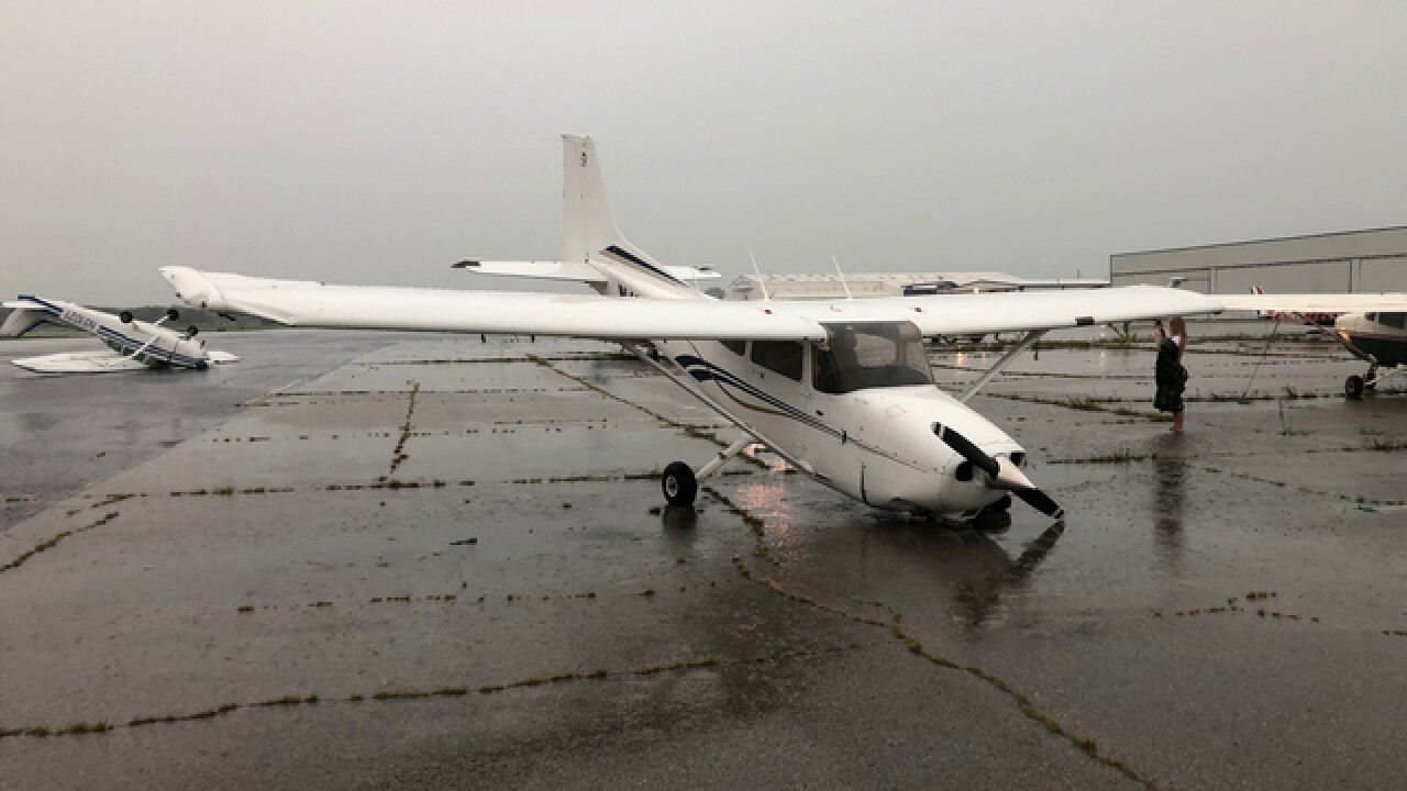 Plane flips over at Jones Airport in Jenks