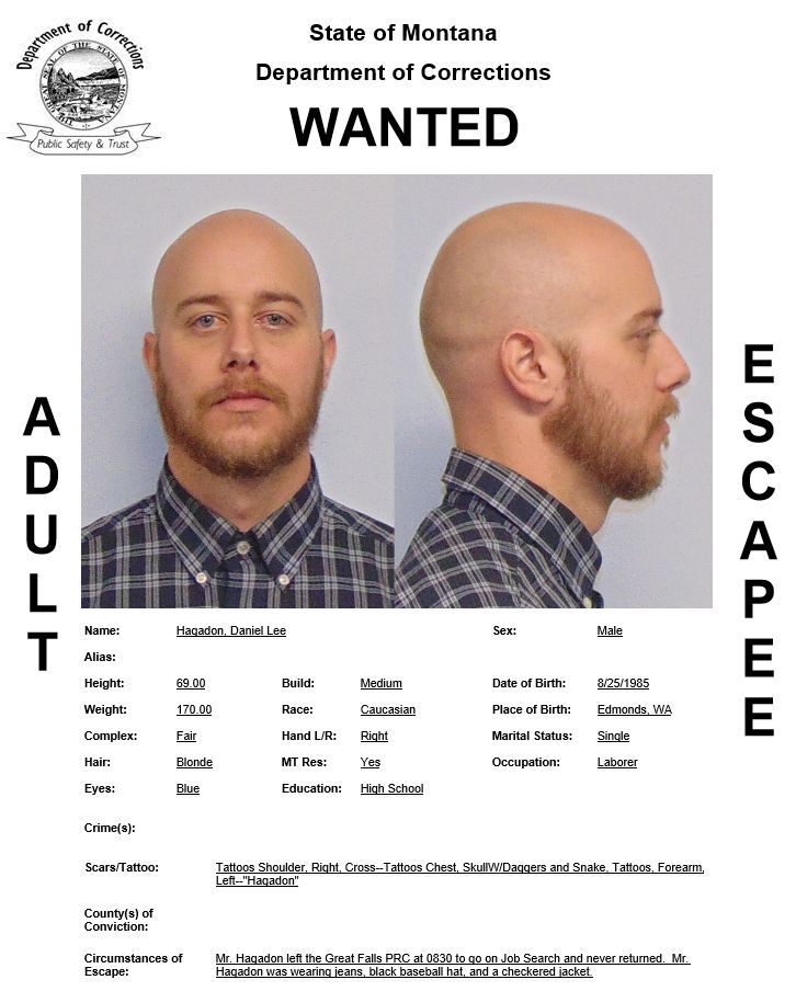 Daniel Lee Hagadon has been reported as an escapee/walkaway from the Great Falls Pre-Release Center