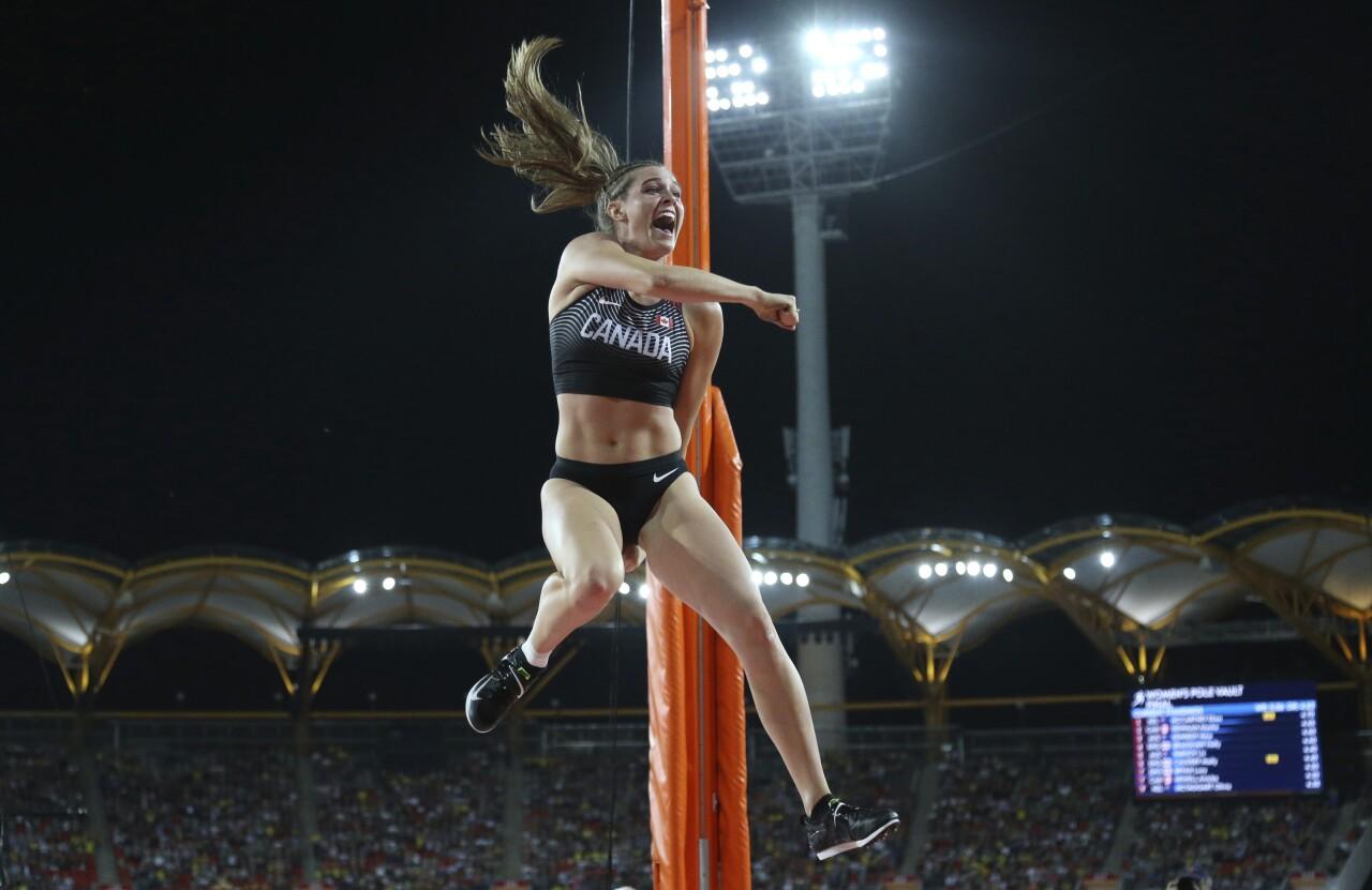 Alysha Newman celebrates after 2018 pole vaulting performance in Australia