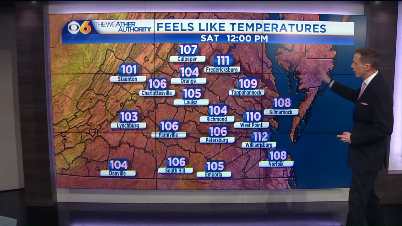 🔥Heat and Humidity: Forecast feels-like temps above 110°