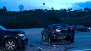 Three-car crash causes hours long lane closures on Interstate 8