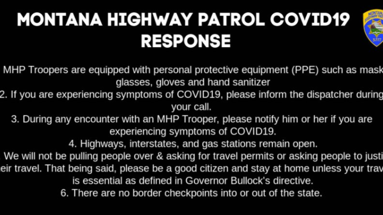 Montana Highway Patrol issues for stay-at-home