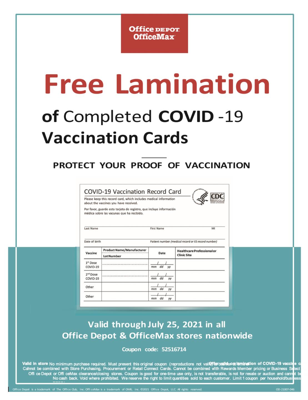 Office Depot Vaccine card