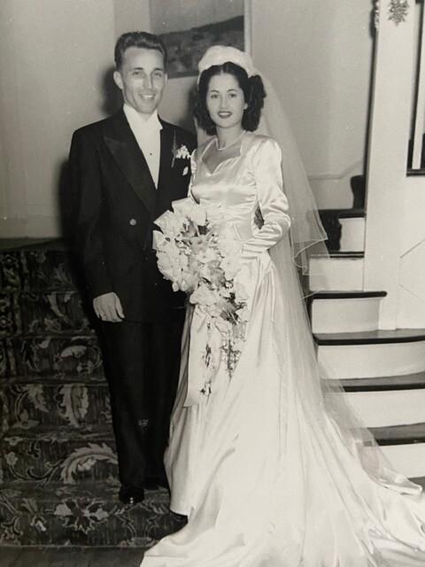 Patsy and Jean Santello at their wedding.