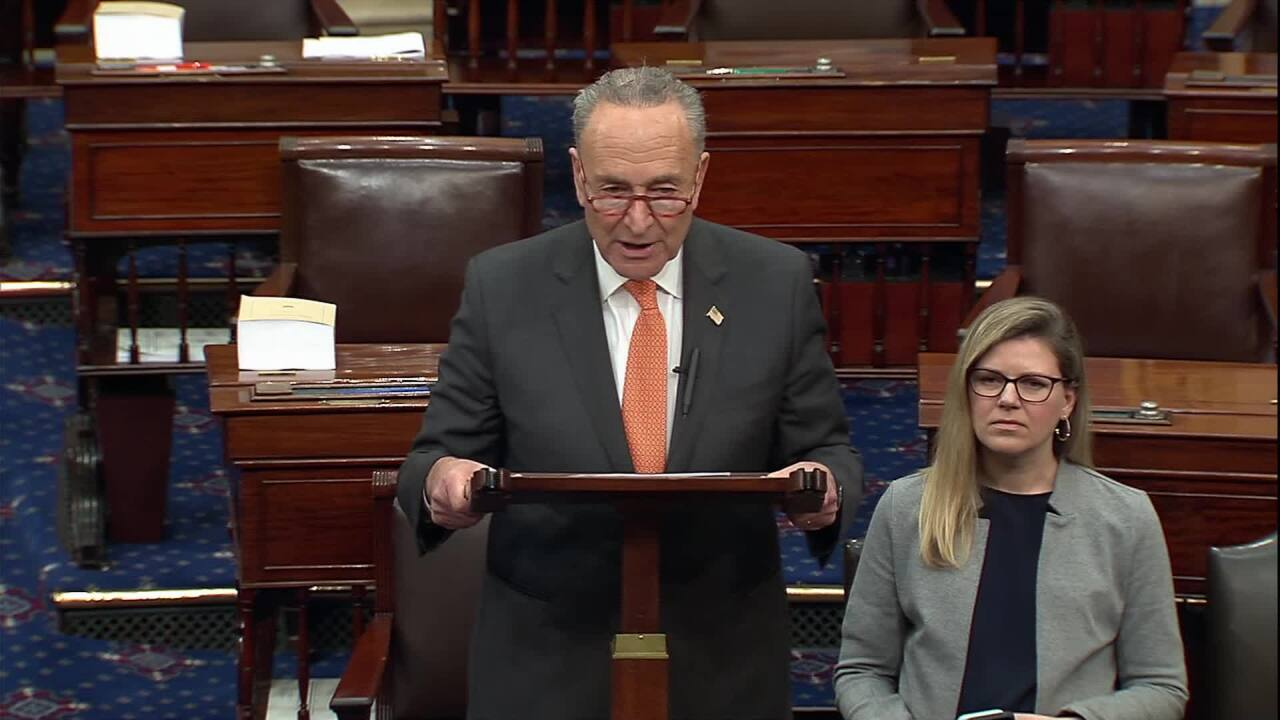 Senate Minority Leader Chuck Schumer pushes for Ukraine documents in Senate trial