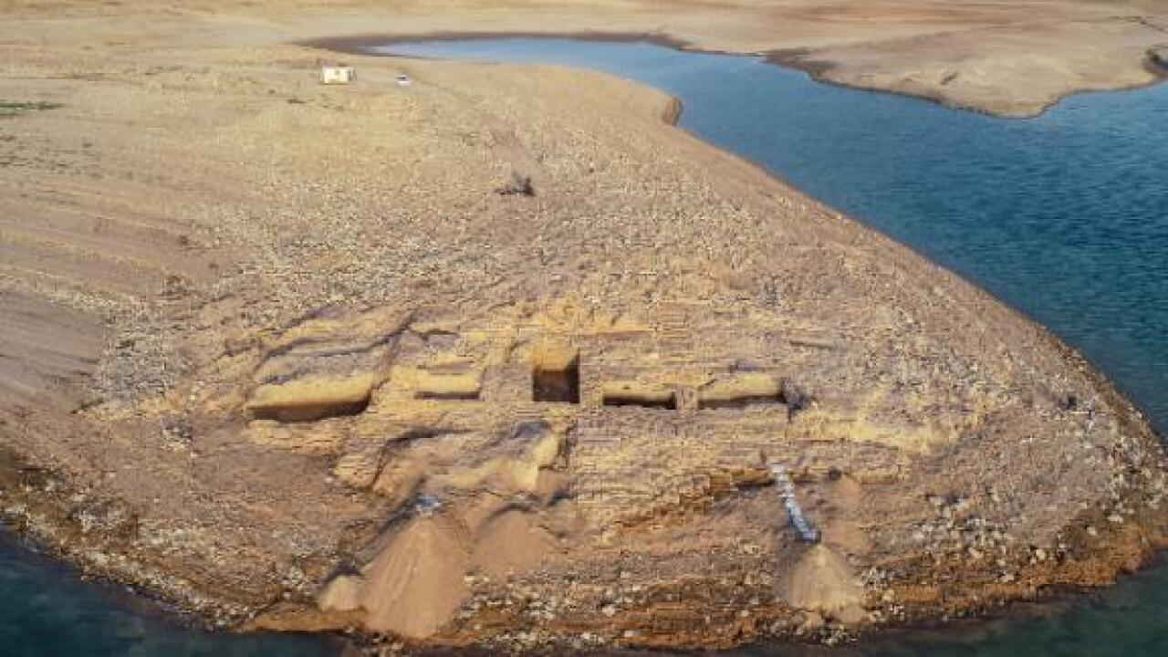 Ancient palace emerges from drought-hit reservoir in Iraq