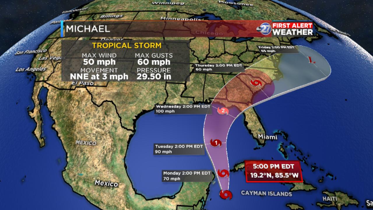 Tropical Storm Michael forecast cone (10/07/18)