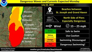 Dangerous conditions for swimming on Lake Michigan today with waves up to 7 feet