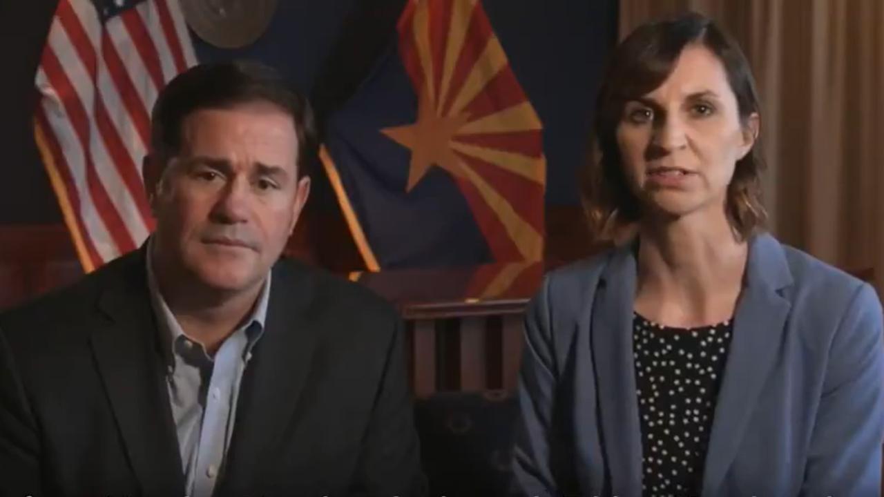 Arizona Gov. Doug Ducey and Superintendent Kathy Hoffman
