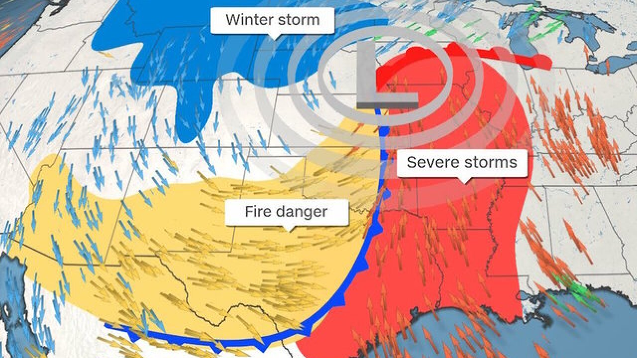 Tornadoes, blizzard and historic wildfire conditions are this weekend's triple threat