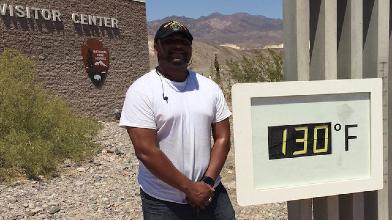 Tourists flock to Death Valley for pictures with 130-degree thermometer reading
