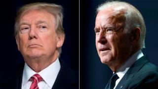 Trump Biden split photo