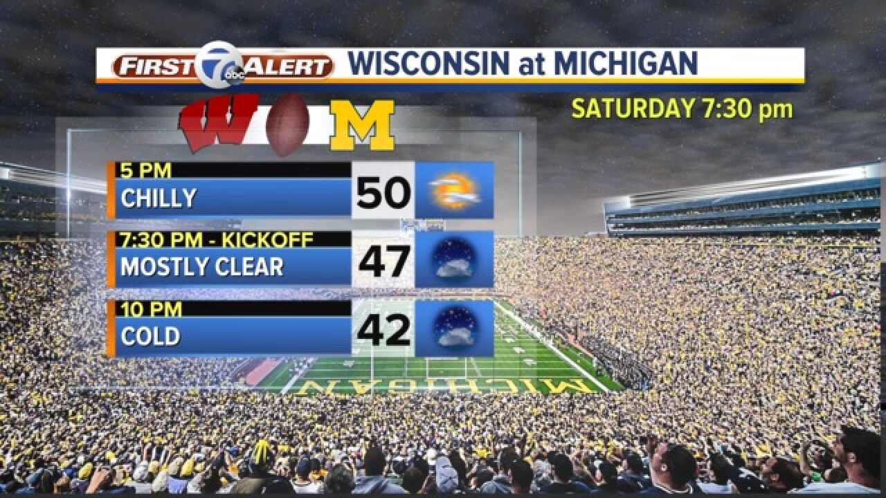 Dress warm for the Michigan vs. Wisconsin game Saturday