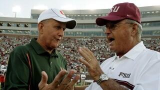 Miami Hurricanes head coach Larry Coker and Florida State Seminoles head coach Bobby Bowden in 2005