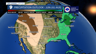 Precipitation outlook for June, July and August, according to the Climate Prediction Center.