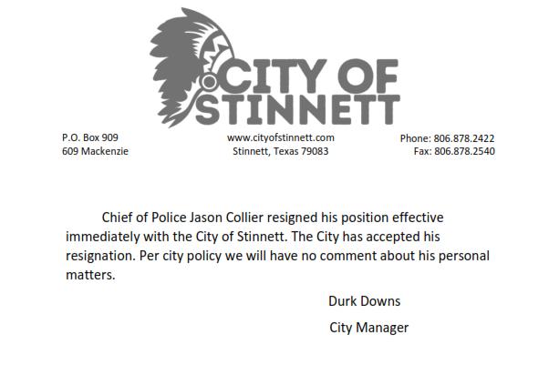 City of Stinnett statement on Jason Collier part 2