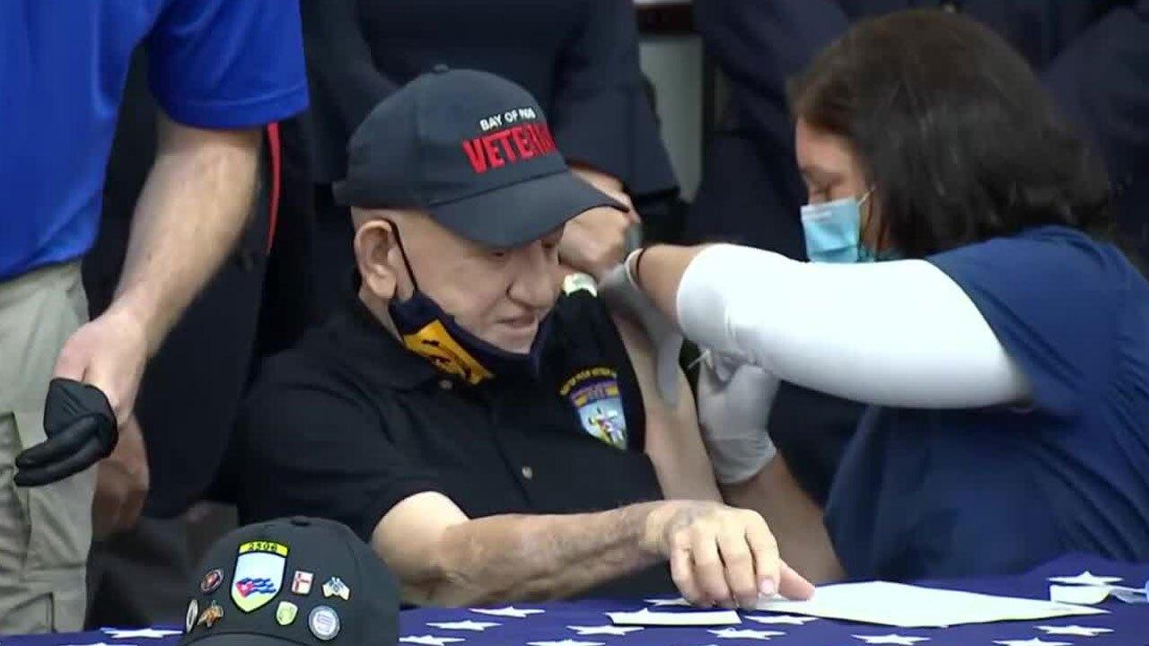 Bay of Pigs veteran receives COVID-19 vaccine in Miami on Feb. 8, 2021