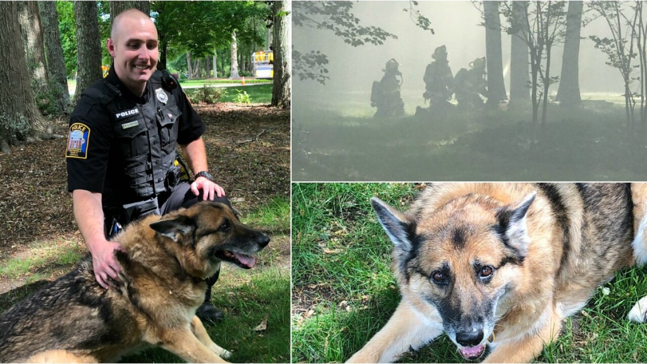 Officer saves dog from Midlothian house fire