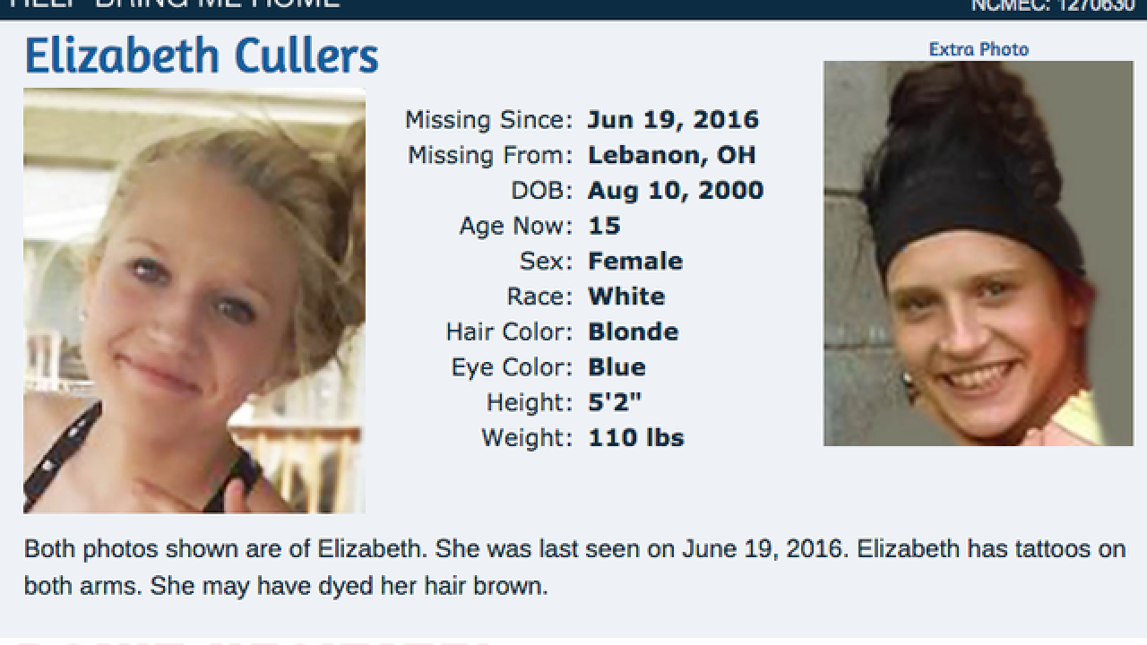 15-year-old Elizabeth Cullers has been missing from Lebanon since June