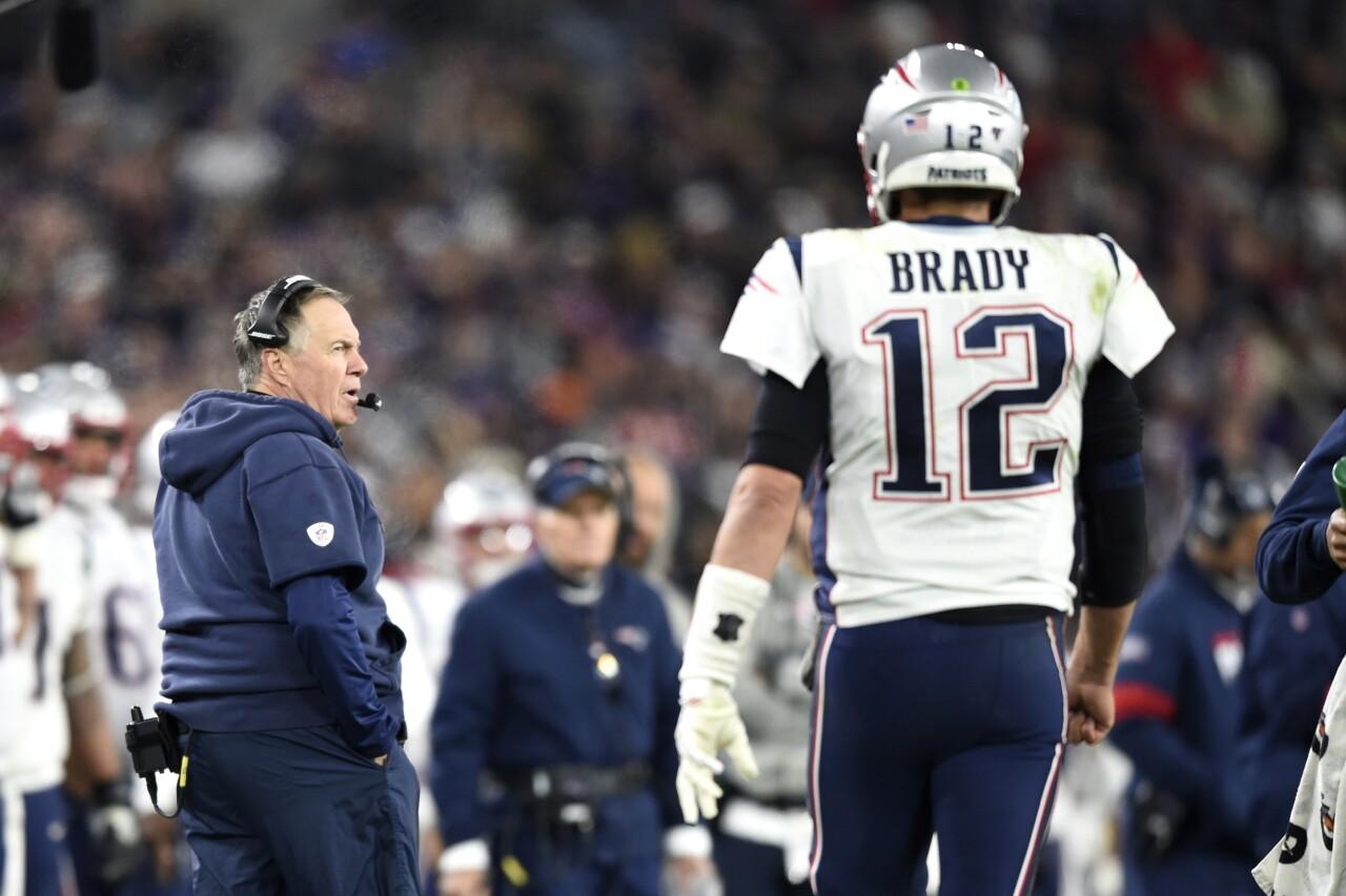 New England Patriots head coach Bill Belichick and QB Tom Brady, Nov. 3, 2019