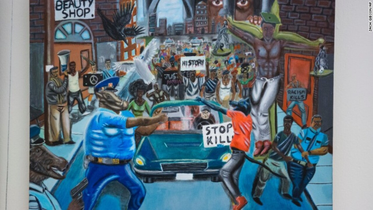 Student's painting, which depicts police officers as pigs, to be taken down