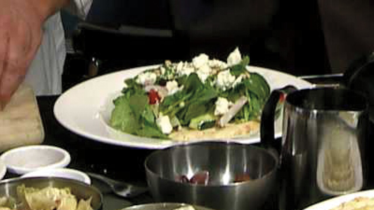 Greek Spinach Salad on Warm Pita Bread (06.11.12)