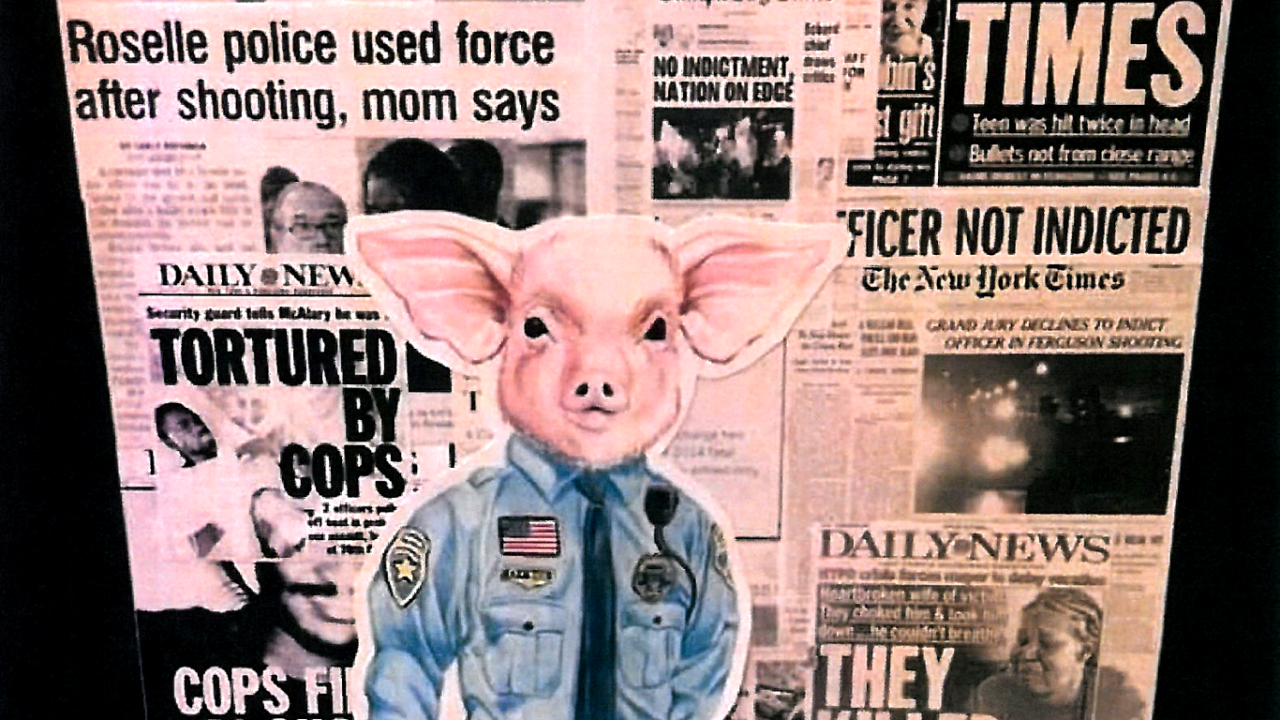An Ohio student's showcased artwork depicts a police officer with a pig head. It was taken down