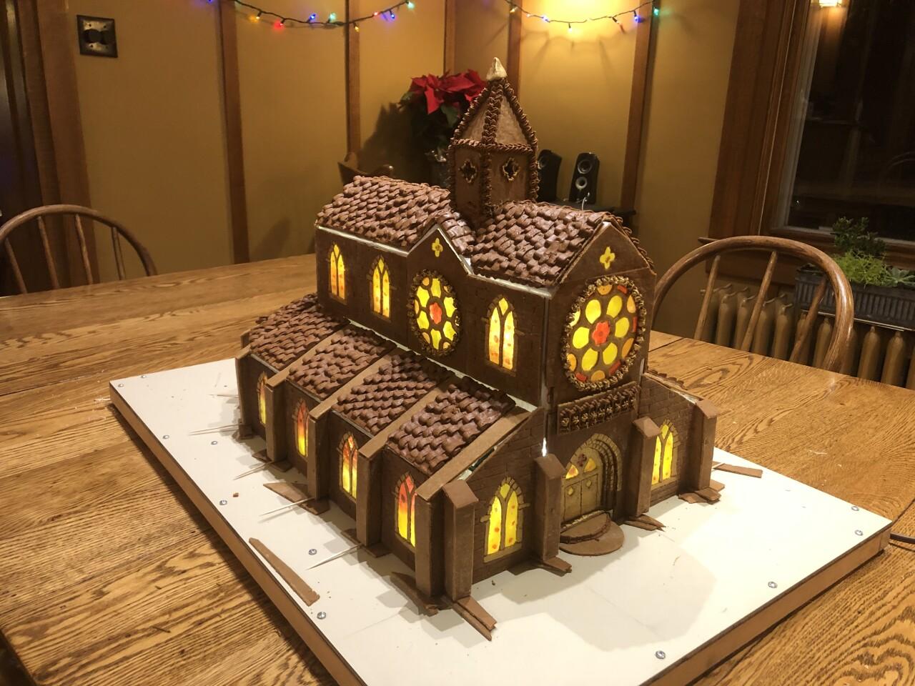 Joel Kiernan's nearly completed gingerbread Notre Dame