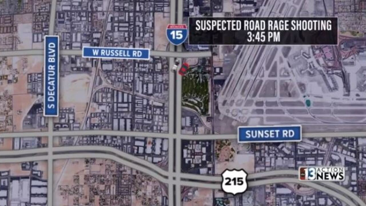 This is a map of a the location of a suspected road rage incident involving and off-duty Las Vegas Metropolitan Police Department Officer.