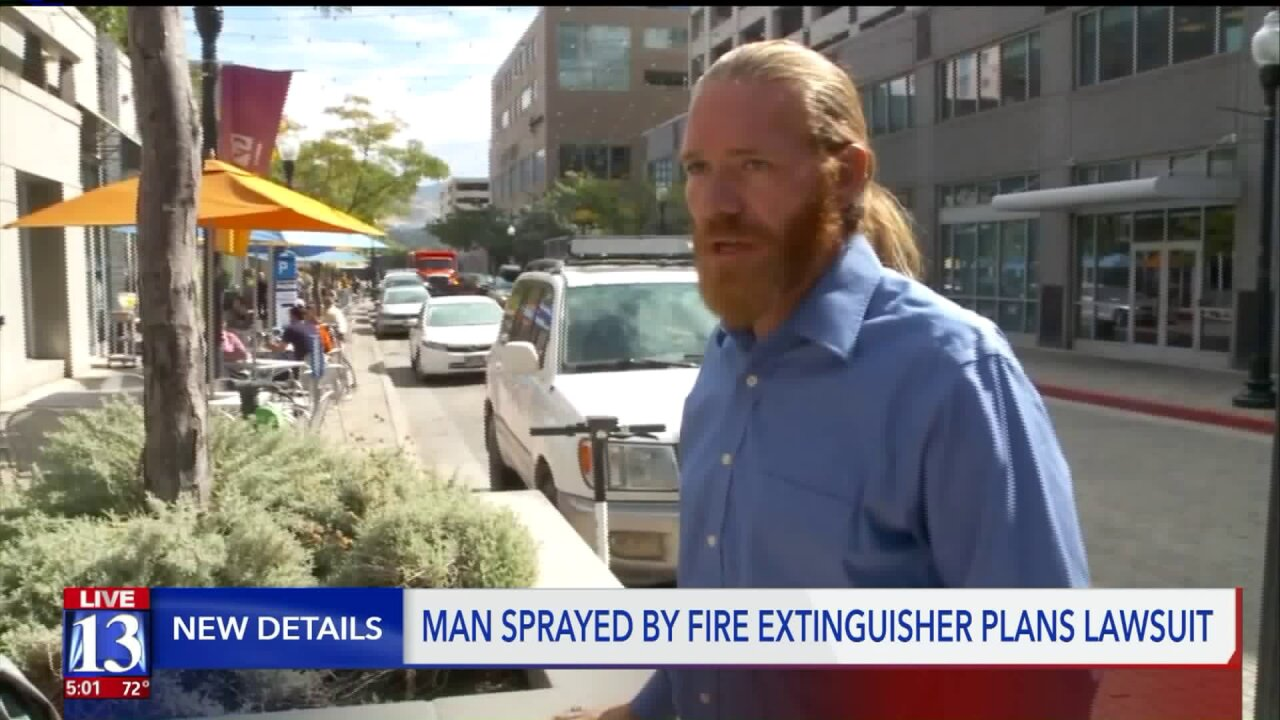Man plans to sue former SLC business owner for spraying fire extinguisher in his face